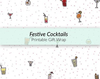 Printable Cocktail Gift Wrap - printable wrapping paper, party gift wrap, cocktail illustration, A4 gift-wrap, festive gift wrap