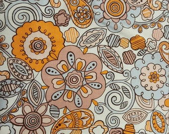 Earth-toned Floral Paisley Cotton Fabric by the Yard