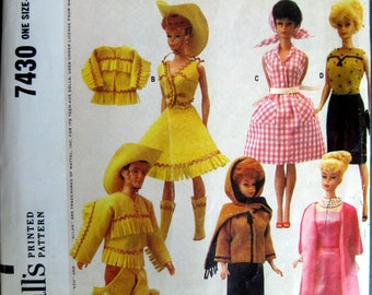 "Vintage Barbie Ken Midge Doll Pattern Doll's Instant Wardrobe One size Barb 11 1/2"" ken 12"" 1964"