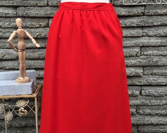 Vintage 1980's Red Wool Skirt *  Size XS  *  I. Magnin
