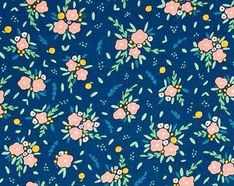 Fresh Dew Blooming Bouquet Navy and  Pink Flower print by Paula & Waffle for Dear Stella Fabrics