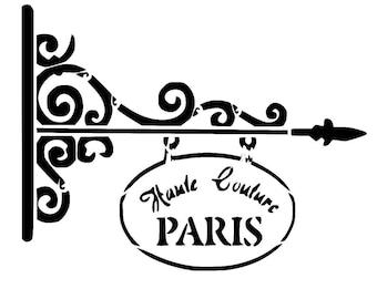 """11.7/16.5"""" Vintage paris sign stencil 2.  A3."""