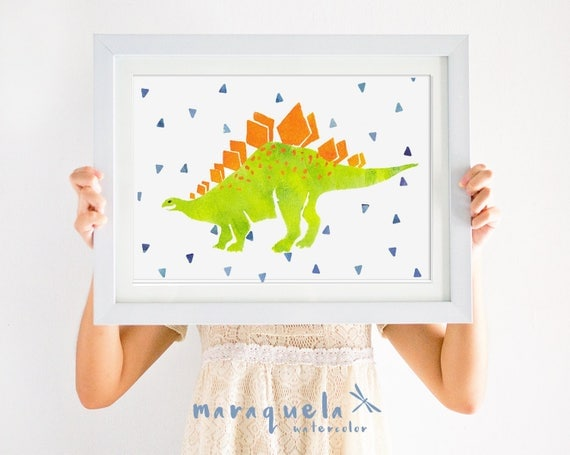 DINOSAUR III, illustration for kids and baby, newborn. Nursery, green orange hues, art, animal, dinosaurs, baby boy, kids, decoration, child
