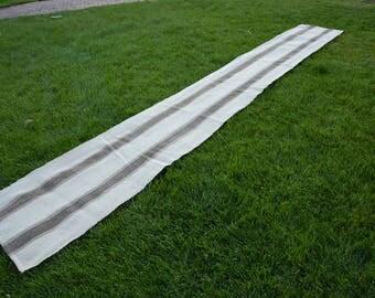 Extra long  , Longer Kilim Rug Runner, Narrow Runner Cream, Black Stripe Rug Runner Natural Wool 16'40'' X 2'16'' / 500x66 cm