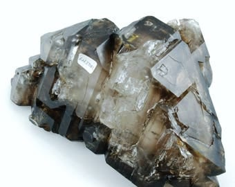 "Smoky Quartz Elestial Quartz from Brazil, 6.50"" x 3.31"" x 2.08"", weight: 805 grams"