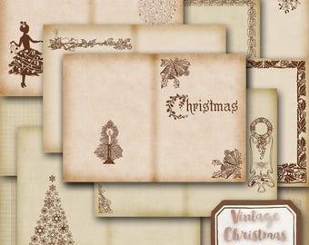 5x7 Christmas Journal, Printable Christmas Journal, DIY Christmas Journal, Vintage Christmas Journal, Christmas Journal Kit with Extra Pages