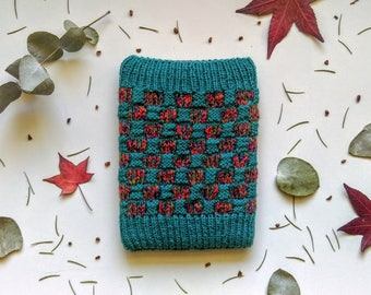 Woollen Hand Knitted Amazon Kindle Book Cover In Dark Jade Green & Multicoloured Checkerboard Pattern, Pouch, E-Reader Case, Electronic Case