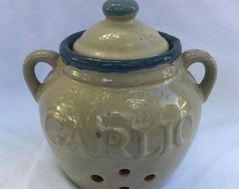 On Sale Vintage glszed ceramic garlic pot. Garlic storage. Ceramic garlic pot.