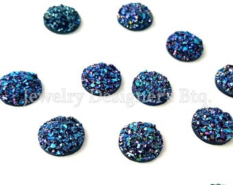 10mm Purple-Blue Druzy Cabochons Faux Druzy Bronze Cabochon Resin Jewelry Supplies Earring Findings Cameo Settings Kawaii Supply