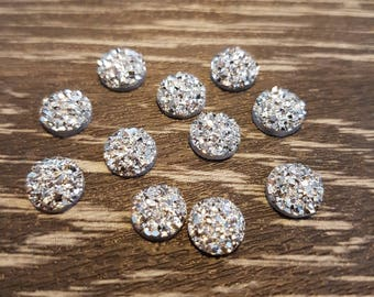 8mm Iridescent Faux Druzy Cabochons Resin Kawaii Cabochon Glitter Embellishments Jewelry Supplies Earring Components Ring Findings Silver