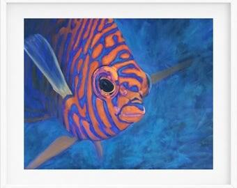 Fish Art Print, wall art prints, Potters angelfish, blue, orange, fish painting, fish art, ocean lover gift, fish gift, beach house print