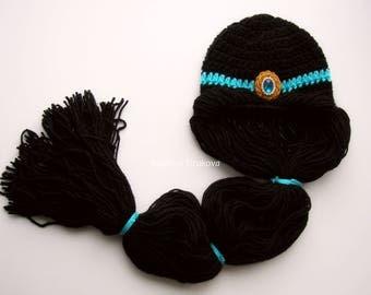 Crochet Princess Jasmine Wig/Princess Jasmine Inspired Hat/Princess Jasmine Wig/disney princess crochet hat/disney hat/crochet character hat