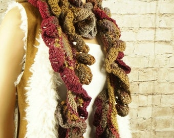 SALE Chunky wool scarf, ruffled scarf, fashion accessories, wool scarf, warm scarves, fashion scarf, bohemian scarf, gift for her, crochet s