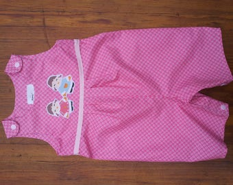 Overalls short clipped pink cretonne and pattern applied