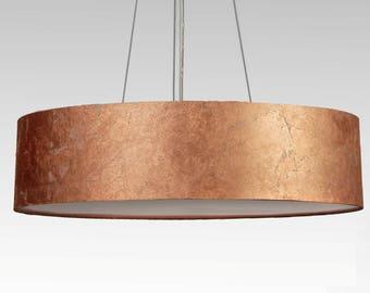 pendent lamp D.60 cm, copper leaf optics