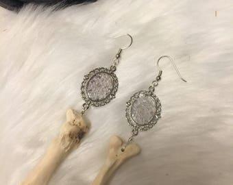 Rose quartz Bone earrings