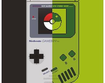 Retro Gameboy and Pokemon inspired Split Poster - digitally signed fine art print