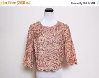 25% OFF VTG 60s Lace Blush Pink Scalloped Hem Pin UP Classic Double Breast Crop Jacket S/M