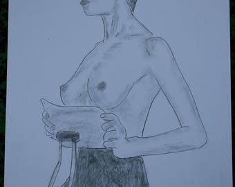 "dessin erotique nu féminin nue ""Tête haute"" crayon graphite"