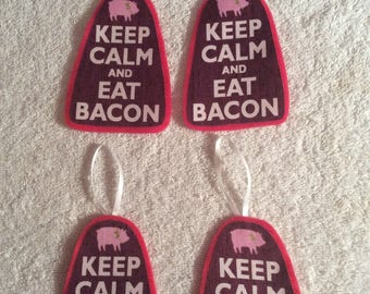 Keep Calm and Eat Bacon-Set of 4 Ornaments