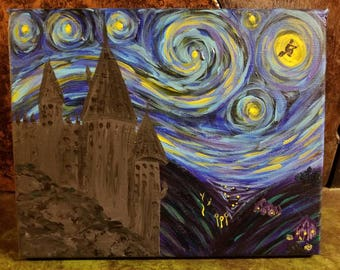 Harry potter Hogwarts Starry Night Painting
