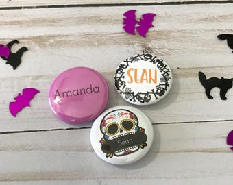 Personalized Halloween Button - Halloween pinback - Skull and bones - Day of the dead - Halloween colors - button badge - party favor