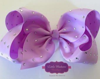 8inch Lilac rhinestone bow.