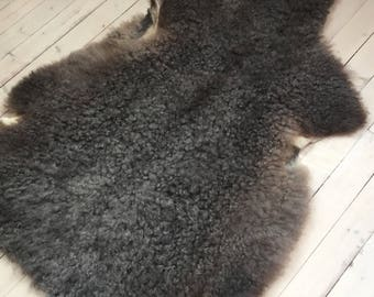 Supersoft sheepskin rug beautiful Norwegian pelt sheep skin curly grey throw 17161