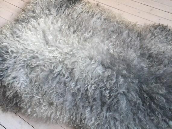 Stunning interior rug beautiful high quality sheepskin Norwegian pelt volumous sheep skin curly dark grey throw 18015