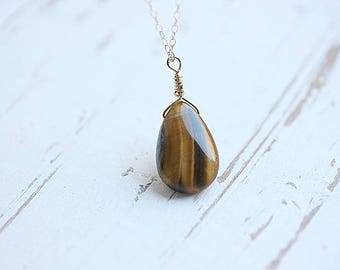 Yellow Brown Stone,Tiger Eye Necklace, Gold filled chain, Tiger's Eye Pendant, Tiger Eye Jewelry, Layering Necklace, Gift for her