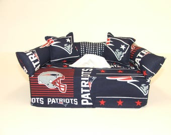 New England Patriots NFL Licensed fabric tissue box cover.