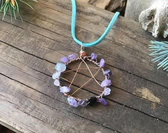 Pentacle necklace, Amethyst necklace, Purple crystals, Copper necklace