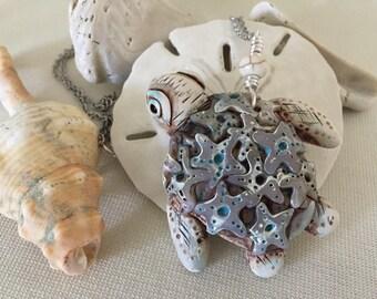 turtle polymer clay beach sea gift pendant