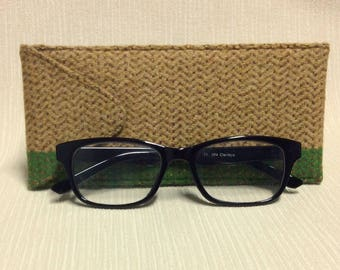 Welsh tweed glasses/spectacles case in yellow & green