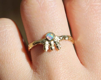 Sale! Opal Gold Ring, Natural Australian Solid Opal Gold Ring, 14K Gold Ring -- US Size 7.5