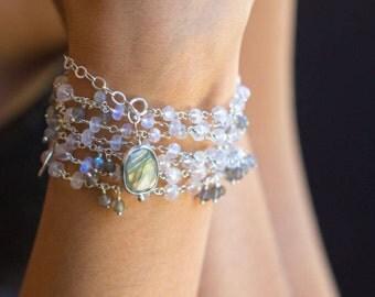 Rainbow Moonstone Necklace, Labradorite Necklace, long beaded necklace, bohemian necklace, bohemian wedding, Raindrops LAST ONE