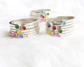 Silver stacking ring- Rainbow stacking rings - Stackable rings- Sterling silver stacking ring - Ethical jewelry- Ethical rings- Gift for her