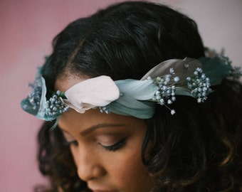 Stunning handmade feather flower bride/ bridesmaids crown ethereal wreath detail Laurel #02FC