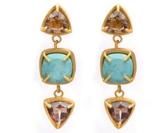 Gemstone Drop Dangle Earrings - Multi Gemstone Earrings - Gold Gemstone Earrings - Turquoise - Smoky Quartz - Prong Set with Bezel Rim