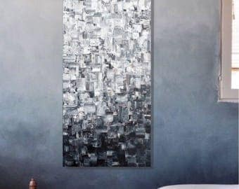 OBSCURITÉ  Original Abstract Painting on canvas, Black & White, Pixel Series, Melville Art.