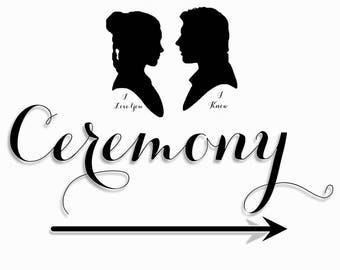 Ceremony - I Know, Wedding Sign, I love you, I know, Black, White, Entrance, Church, Chapel
