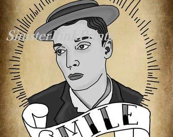 Buster Keaton Tattoo Flash Print