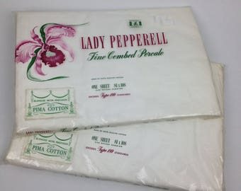 Vintage 2pc LOT Sealed Lady Pepperell Full Flat Bed Sheets Combed Percale NOS White Cotton