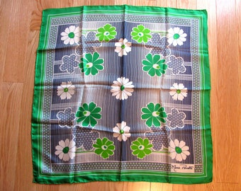 Vintage 60s Green and Blue Flowered Ladies Scarf, by Marie Pierrette for Louis Fischl