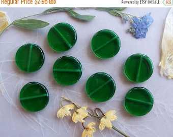 ON SALE Czech Pressed Glass Polished Large Coin Beads ~ Emerald Green ~ 15mm ~ 8 Pieces