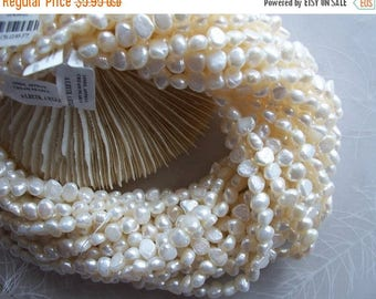 """ON SALE Off White Cream Cultured Freshwater Pearl Nugget Beads ~ 16"""" Strand ~ 7mm-8mm ~ Beautiful Luster & Shine"""