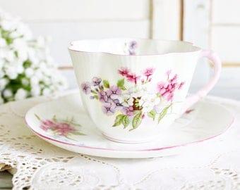 "Vintage Shelley Dainty ""Stocks"" Cup & Saucer | Dainty Teacup, Shelley China, Stocks Teacup, English Teacup, Tea Party Teacup, Pretty Teacup"