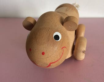 Vintage Wood Articulated Hippo on Wheels