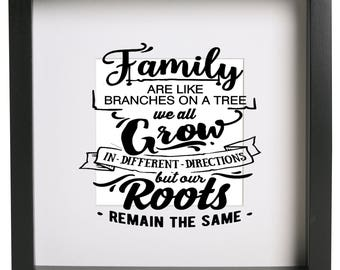 Family are like branches on a tree we all grow in different directions but our roots remain Box Frame Vinyl Sticker Only Ribba Box Frame ect