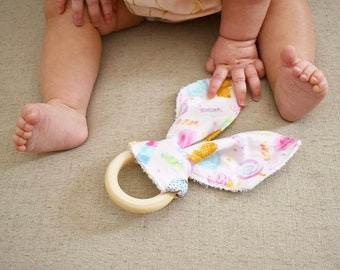 All Natural Wooden Teether/Fabric Bunny Ears Teether